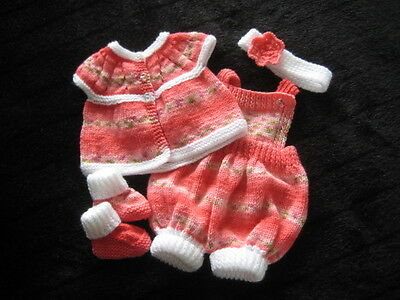 Hand Knitted Red Mix /white Cardi & Romper Set For 20 Inch Reborn /newborn Baby