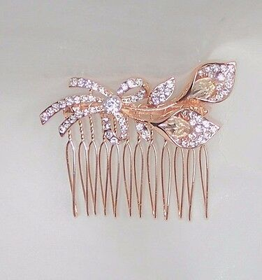Womens Rose Gold Colour Calla Lily Like Flower With Bow Hair Comb Bridal Wedding