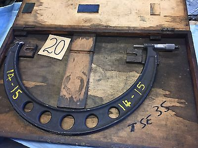 outside micrometer 14 inches - 15 inches, aluminium frame, used in wooden case