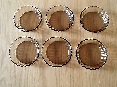 Six Vintage ARCOPAL Smoked Glass Fluted Mini Flan/Tart Dishes