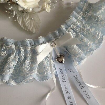 Personalised Wedding Garter, Blue & Ivory lace With Heart Charm, size S/M