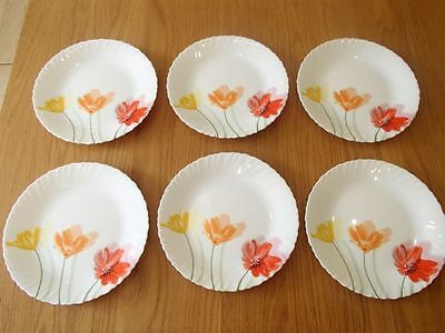 Vintage French opalware Luminarc set of 6 Dinner plates Flowery Flowerly 25 cm
