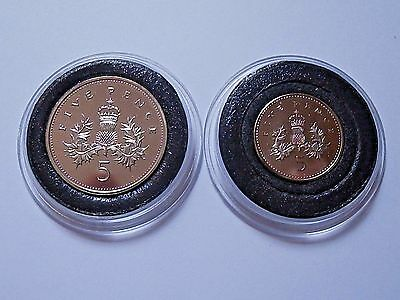 VERY RARE 1990 LAST *LARGE* & RARE FIRST *SMALL* 5p  BU coin set DUO