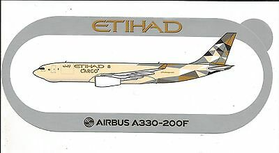 Nouveau ! Airbus Sticker Autocollant A330-200F Etihad Airways Cargo - Neuf