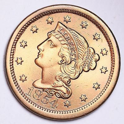 1854 Braided Hair Large Cent UNC Details FREE SHIPPING E111 KMT