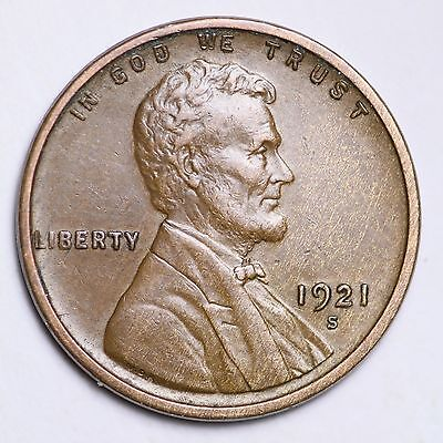 1921-S Lincoln Wheat Small Cent CHOICE AU FREE SHIPPING E158 KNT