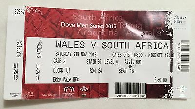Wales V South Africa Rugby Ticket And Stub November 2013