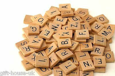 100 Wooden Scrabble Letters Set Art Crafts Alphabet Wood Kids Fun Time Gift Game