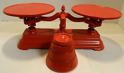 Antique Cast Iron Working Fairbanks Standard Countertop Scale w/ Weight Set VG
