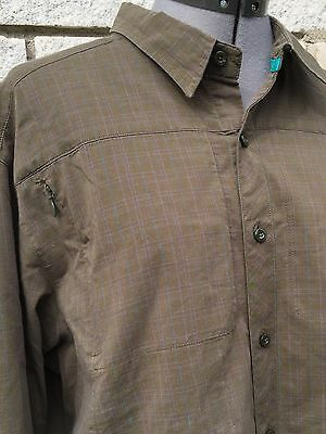 Arc'Teryx Women's Army Green Plaid Check  Button Up Long Sleeve Shirt XL
