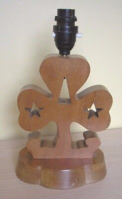 VINTAGE   1960/70s GIRL GUIDE HAND CRAFTED ? WOODEN TABLE LAMP...