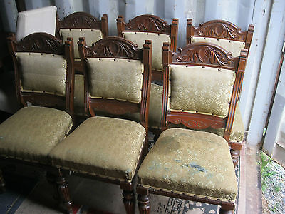 6 X Matching Ornate Edwardian Chairs. Upholstered Back & Seat Pads. Delivery Pos