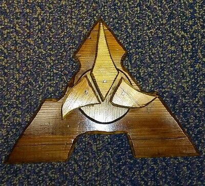 Klingon Inspired Plaque hand carved from wood 041217-1