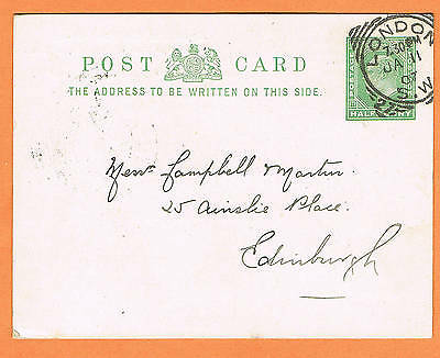 Great Britain  1907 ½d pre-paid post card London S.W squared circle cancellation