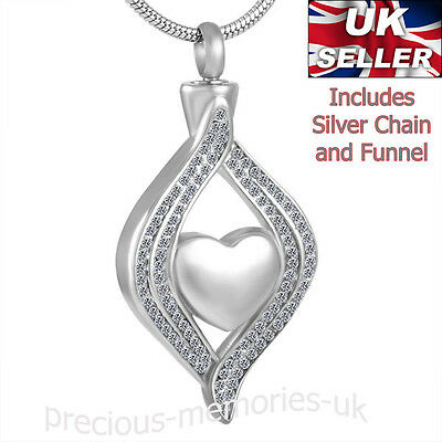 Diamante Cremation Ashes Necklace - Funeral Memorial Jewellery - Ash Urn Pendant