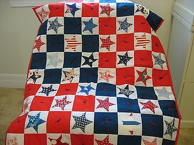 Antique Vintage Hand Made Red White & Blue Stars Quilt