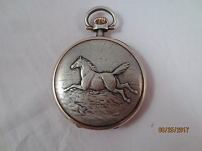 Vintage Antique Longines Sterling Silver Pocket Watch Relief Watch Grand Prix