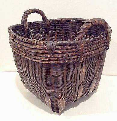 Chinese Sewing Basket Antique Large with Handles 1930's Uncommon