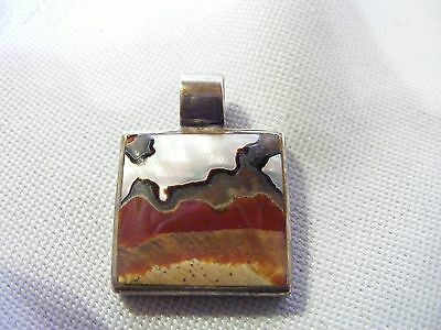 SOLID 925 Sterling Silver Agate Set Pendant