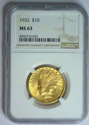 1932 ~ $10 Indian Gold ~ NGC MS63 #020