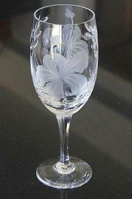 """EXCELLENT Large ROYAL BRIERLEY Hibiscus  7 3/4""""  Wine/Water GOBLET Glass"""
