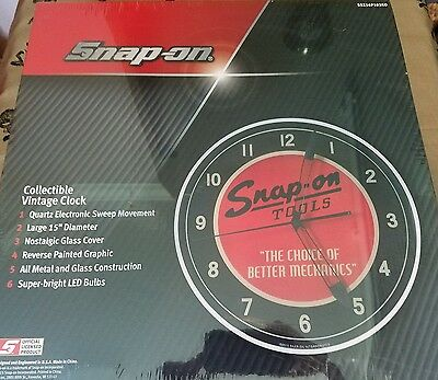 LED Snap On Tools Vintage Light Up Clock 15""