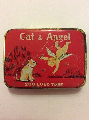 Gramophone/phonograph Needle Tin - Cat & Angel Full - Rare Find -