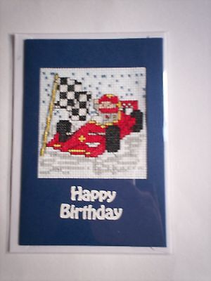 completed cross stitch card - racing car