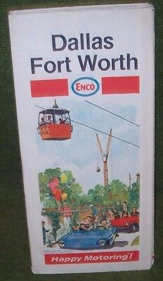 Vintage 1970 Humble/Enco Dallas Fort Worth, Texas Map Sightseeing Guide