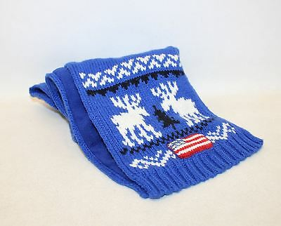 BNWT POLO RALPH LAUREN Boys Royal Blue Knitted Rectangular Embroidered Scarf