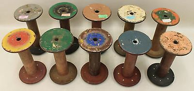 10X Antique Industrial Textile Mill Wooden Old Sewing Spool Thread Bobbins