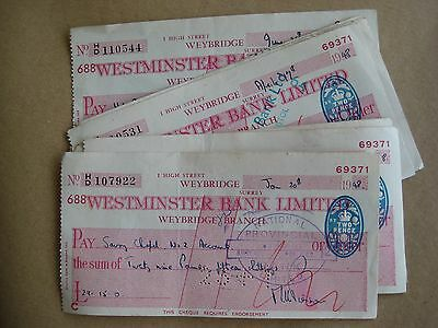 11 Used Vintage Cheques 1948