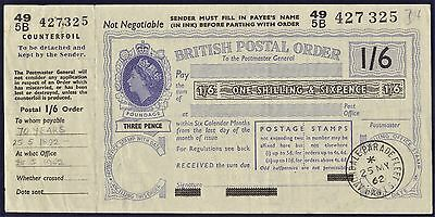 G.B Postal Order issued in 1962 for 1s & 6d