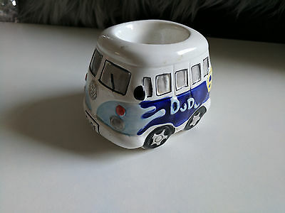 VW Camper Van Ceramic Egg Cup 'DUDE' with out Salt Shaker. Hand Painted