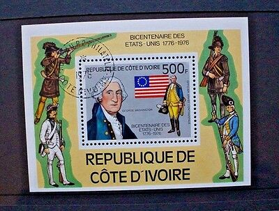 IVORY COAST 1976 Bicentenary American Revolution. SOUVENIR SHEET Fine USED MS484