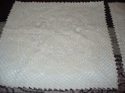 """Vintage Pillow Covers Set of Two Crochet Over Cotton 15"""" x 15"""" White"""