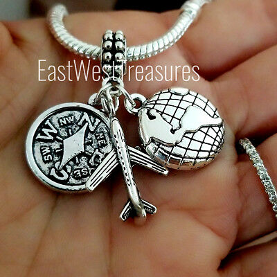 Wanderlust Travel World Map Globe Airplane Passport Pendant Bracelet