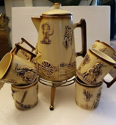 Vintage McCoy El Rancho #351 Western Cowboy Coffee Pot On Stand with 8 cups