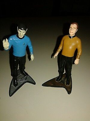 "STAR TREK CAPTAIN KIRK  SPOCK MINI 4"" ACTION FIGURINES "" Hamilton Par Pic ""1991"