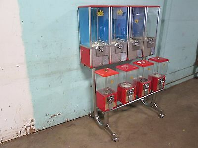 """""""northwestern"""" Commercial Heavy Duty Bank Of (8) Coin Operated Gumball Machines"""