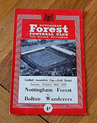 Nottingham Forest v Bolton Wanderers 1958/59 FA Cup Football Programme