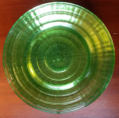 "Set of 11 Hocking Block Optic Green Dinner Plates 9"" Depression Glass"