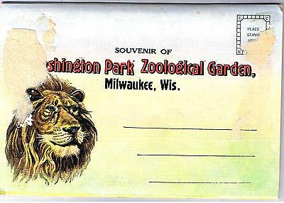 Milwaukee Zoo - Wisconsin -Fold-Out Vintage Postcard Folder
