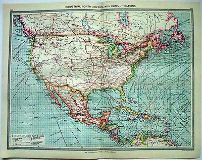 Original Map of North America Industries & Communication by George Philip c1907
