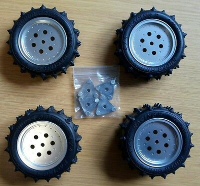 NEW Alloy Wheels & Adapters + Tires Set - Tamiya Hotshot, Supershot, Boomerang