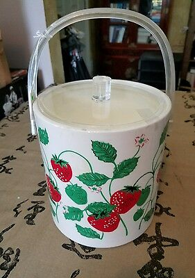 Vintage Ice Bucket Strawberries Stotter?  Lucite Handle Red Green White
