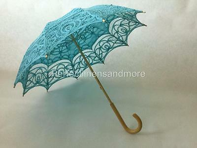 Turquoise Battenburg Lace Parasol with curved Handle