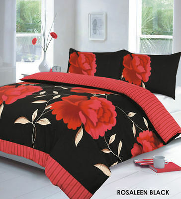Duvet Cover & Pillow Case Bedding Polly-cotto Set ROSELEEN RED DESIGN SIZE KING