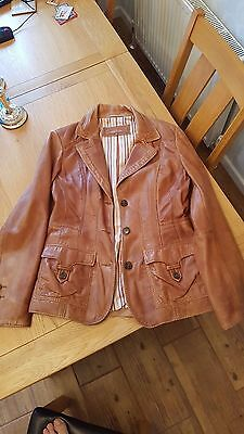 Soft brown ladies NEXT real leather jacket - size 12