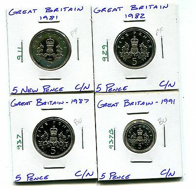 Great Britain : Lot of 4 different 5 Pence coins Proof and Uncirculated